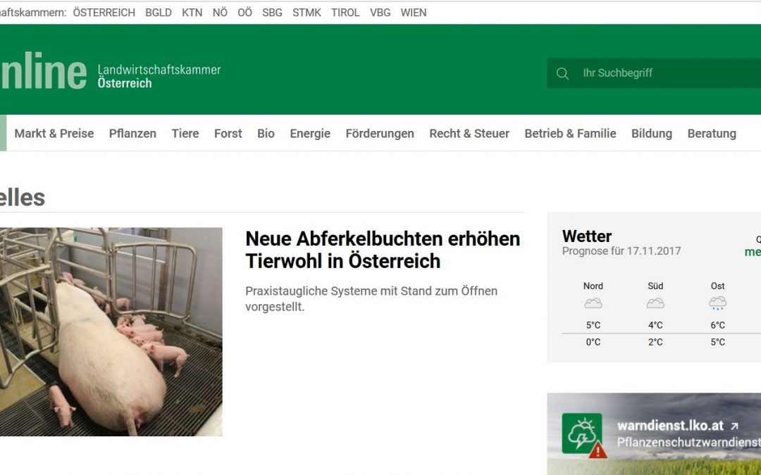 """Arbeitskreis """"Wasserqualität"""" in Österreich am Di 28.11. für Schweinehalter"""